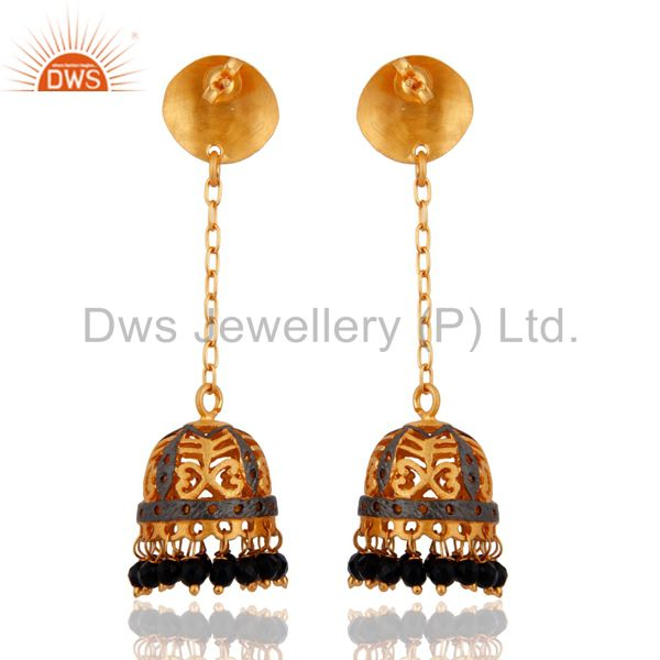 Exporter 18K Yellow Gold Plated Natural Black Ony Gemstone Indian Traditional Earrings