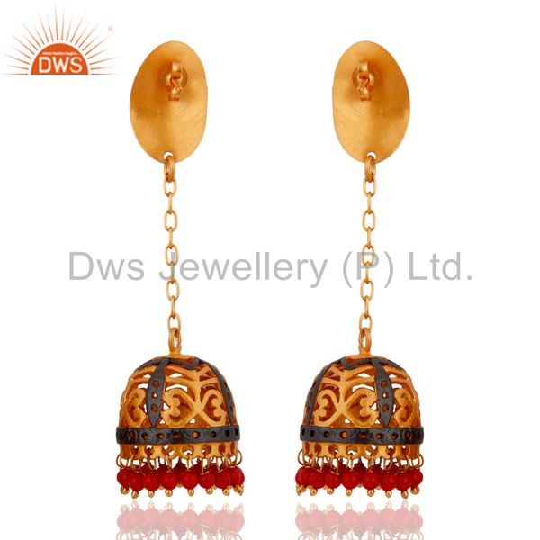 Exporter 18k Yellow Gold Plated Satin Fisnihed Natural Red Coral Gemstone Chain Earrings