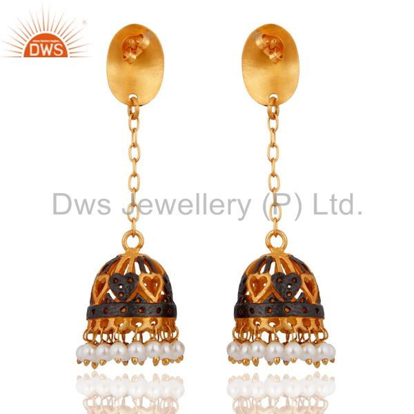 Exporter 24k Gold Plated Beautiful Pearl Earring Indian Designer Bollywood Style Jewelry