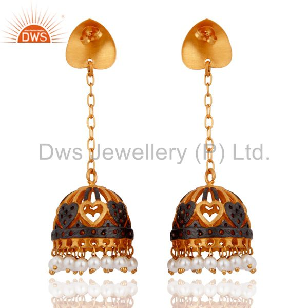 Exporter 18Karat Gold Plated Natural Pearl Party Wear Gold Plated Fashion Jhumka Earrings