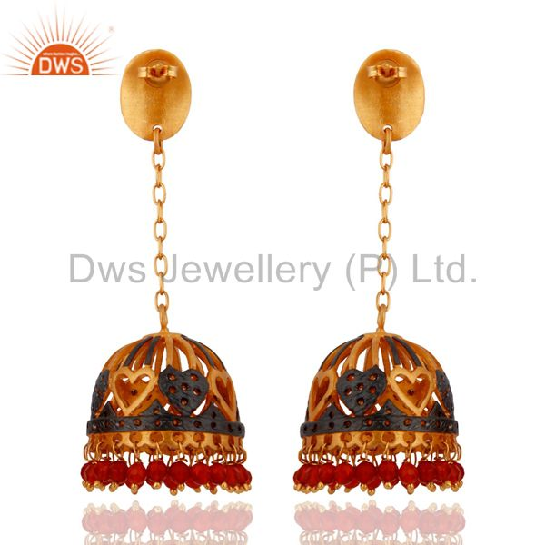 Exporter Red Onyx Semi Precious Stone Beads 18k Gold Plated Heart Designs Earrings