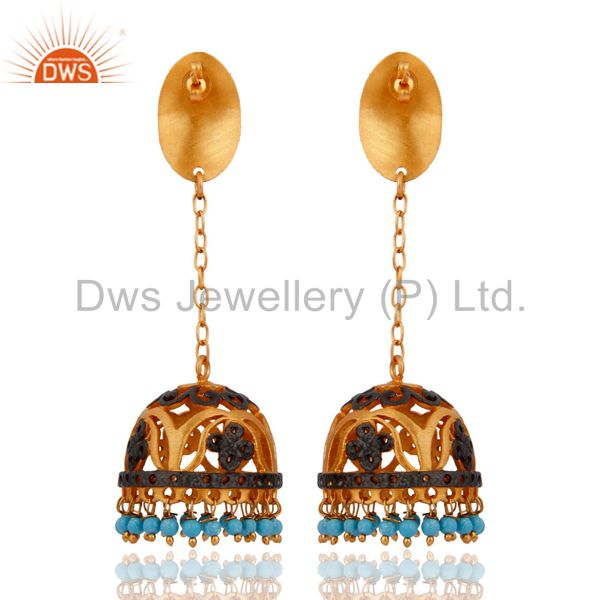 Exporter Indian 24K Gold Plated Fashion Jewelry Designer Turquoise Gemstone Earring