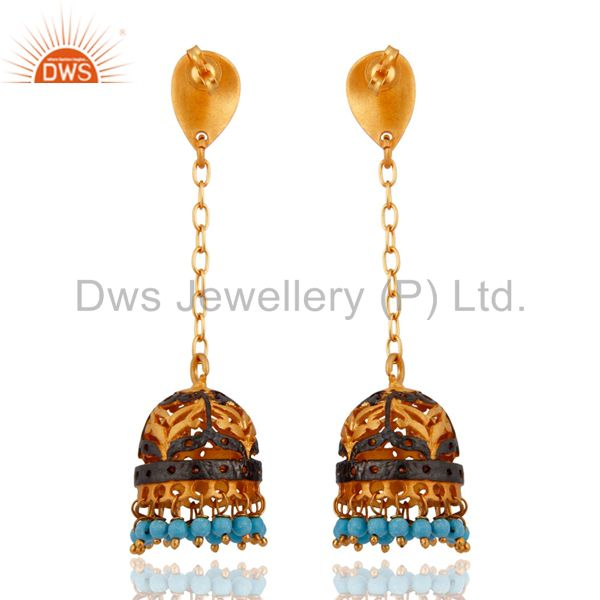 Exporter Quality Gemstone Turquoise 24k Gold Plated Bridal Wedding Long Jhumka Earrings