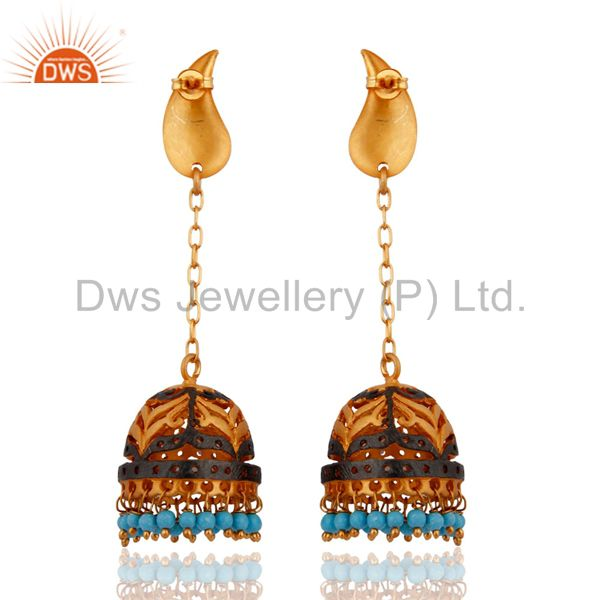 Exporter Turquoise Gemstone Earrings Gold Plated Fashion Jewelry