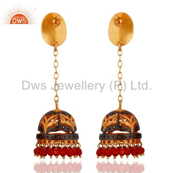 Exporter 18Kt. Yellow Gold Plated Red Onyx Wedding Party Jewelry Unique Designer Earrings