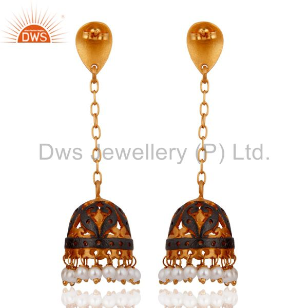Exporter Designer Natural Pearl Beads Earrings - 24k Yellow Gold Plated Fashion Jewelry