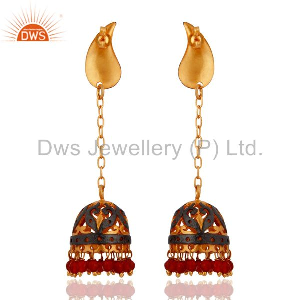 Exporter Red Onyx Gemstone Traditional Jhumka Earrings 24K Yellow Gold-Plated Jewellery