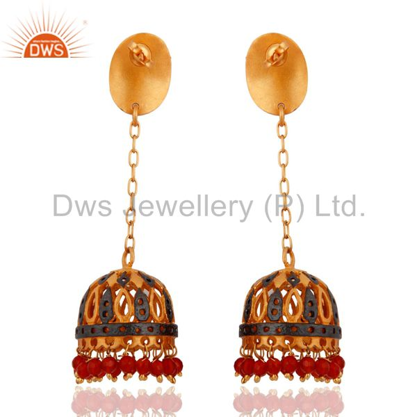 Exporter Natural Red Onyx Gemstone 22K Gold Plated Traditional Indian Designer Earrings