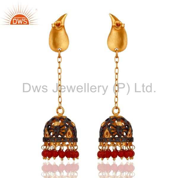 Exporter Handmade Red Onyx Gemstone 18K Yellow Gold Plated Indian Ethnic Bridal Earrings