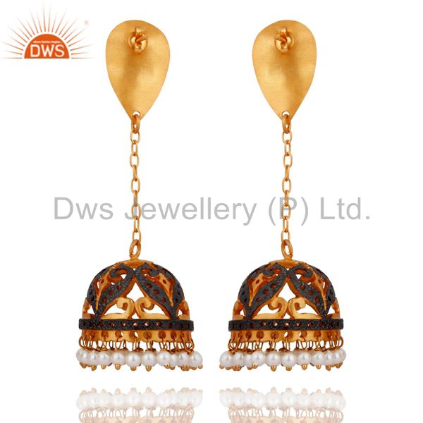 Exporter 24K Yellow Gold-Plated Over Brass White Pearl Indian Traditional Jhumki Earrings