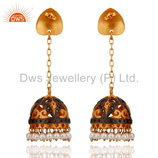 Exporter Natural Pearl Traditional Jhumka Earrings 18-Karat Yellow Gold-Plated Over Brass