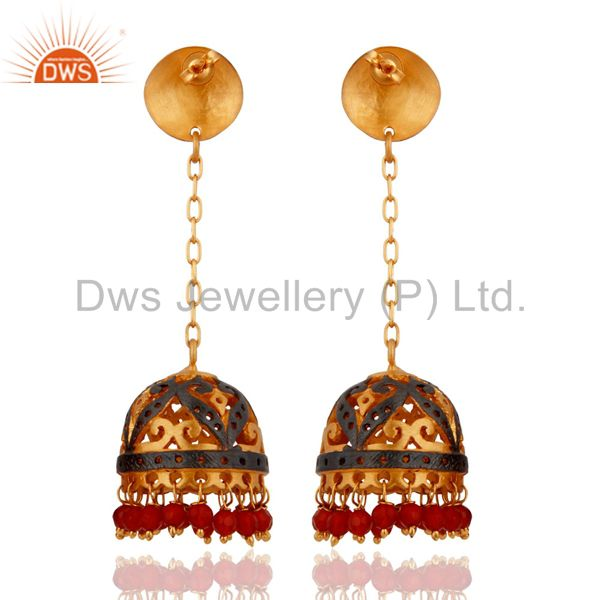 Exporter Natural Red Onyx Indian Designer Dangle Earrings With 24k Gold-Plated Jewellery