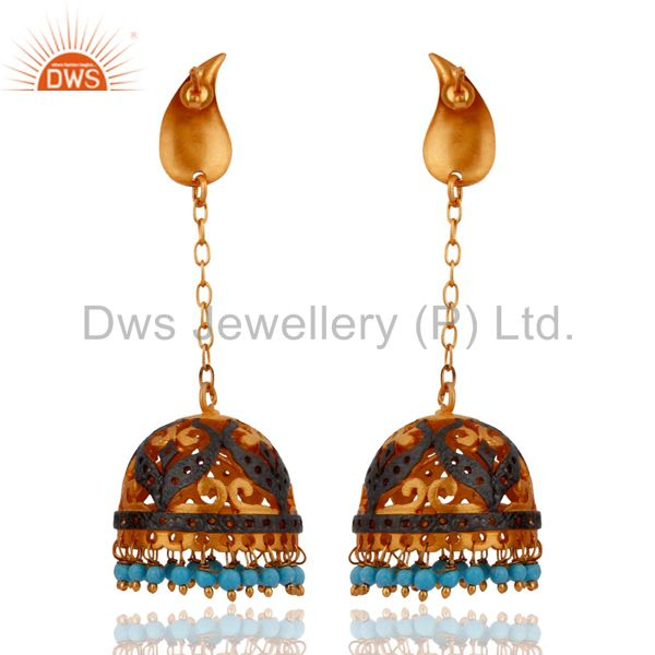 Exporter Natural Turquoise Gemstone Bead 22k Yellow Gold Plated Long Chain Dangle Earring
