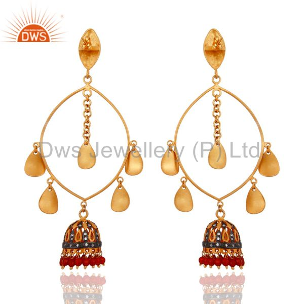 Exporter Handmade 18K Gold Plated Red Onyx Gemstone Indian Designer Women Jhumka Earrings