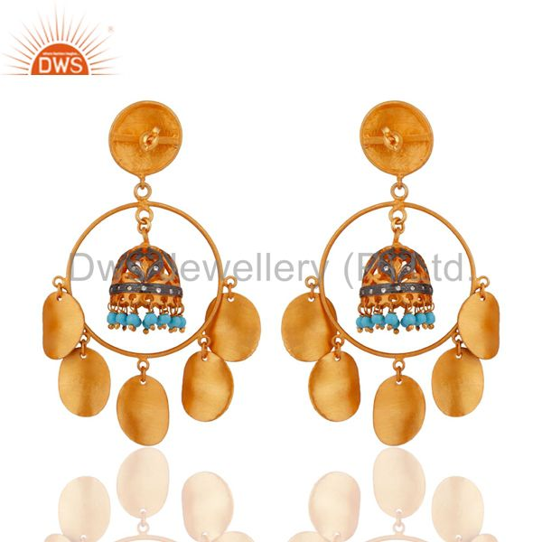 Exporter Handmade Turquoise Gemstone Ladies Chandelier Earring 18-Kt. Gold-Plated Jewelry