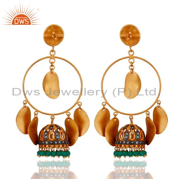 Exporter Green Onyx Gemstone Chandelier Indian Fashion Earrings 24-K Gold Plated Jewelry