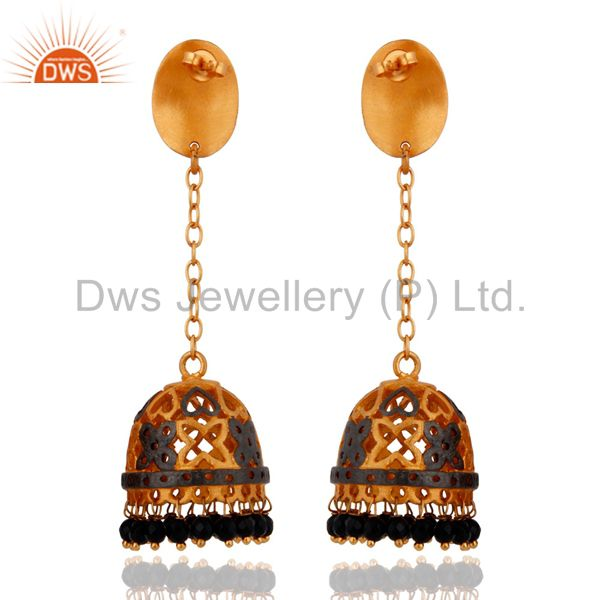 Exporter Natural Black Onyx Gemstone Beads 24k Yellow Gold Plated Indian Jhumka Earrings