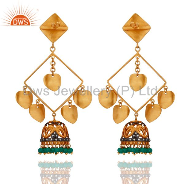 Exporter 18k Yellow Gold Plated Handmade Gemstone Green Onyx Designer Chanaelier Earring