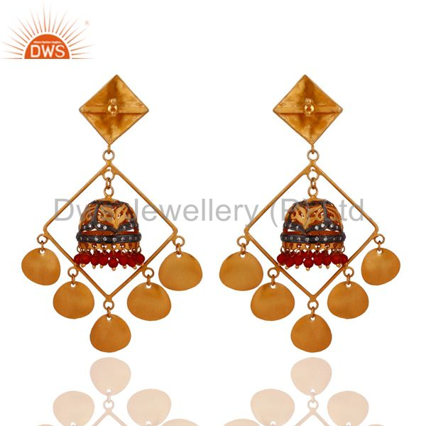 Exporter Handmade Natural Red Onyx Designer Earrings in 22K Yellow Gold Plated Jewelry
