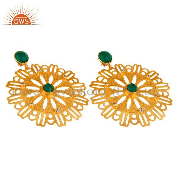 Exporter Beautiful Handcrafted 22K Yellow Gold Plated Green Onyx Desginer Earrings