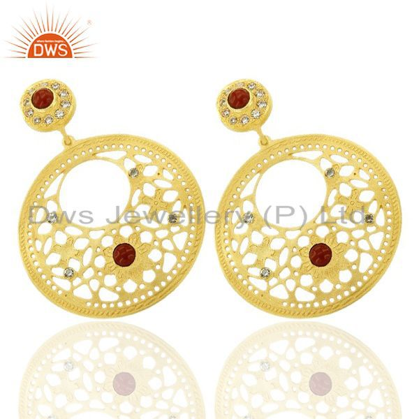 Exporter 24K Yellow Gold Plated Brass Red Coral And CZ Filigree Disc Design Drop Earrings