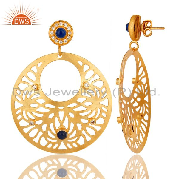Exporter 14K Yellow Gold Plated Blue Aventurine And CZ Filigree Design Earrings