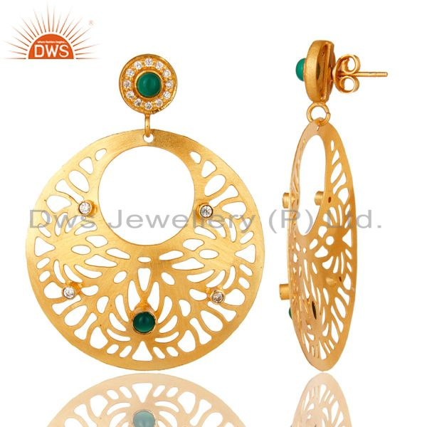 Exporter 14K Yellow Gold Plated Green Onyx And CZ Floral Filigree Design Earrings