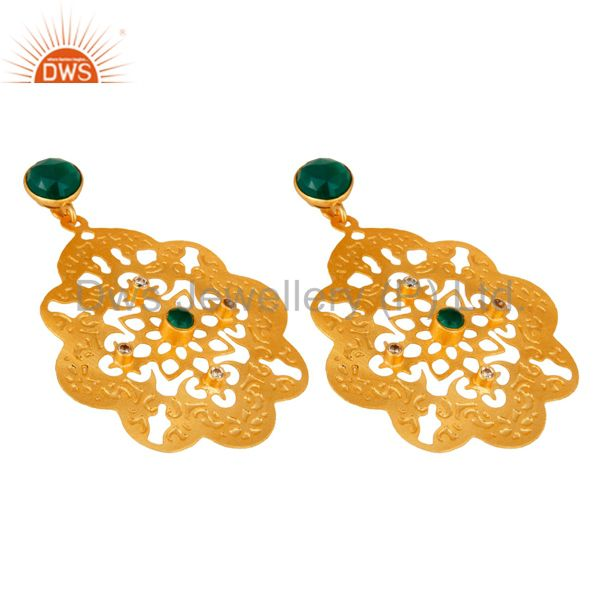 Exporter 24K Yellow Gold Plated Green Onyx Gemstone Designer Fashion Earrings With CZ