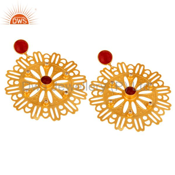 Exporter Red Aventurine Gemstone Earrings - Handcrafted Gold Plated Fashion Jewelry