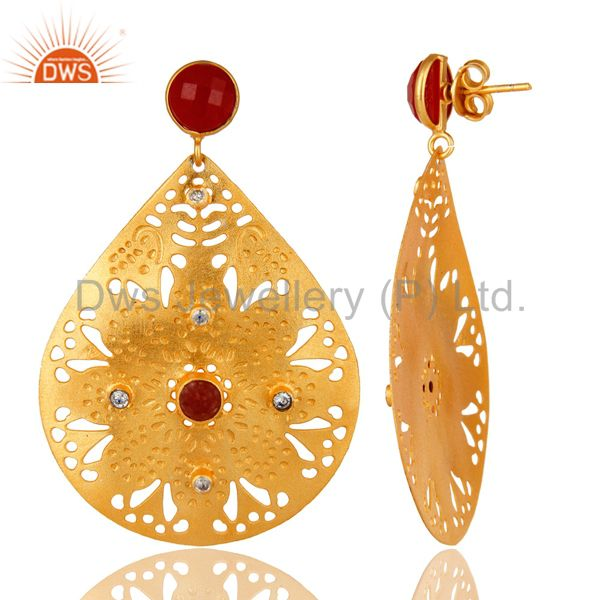 Exporter 22K Yellow Gold Plated Textured Design Red Aventurine Dangle Earrings