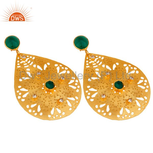 Exporter Handmade Green Onyx Gemstone 22K Yellow Gold Plated Designer Earrings