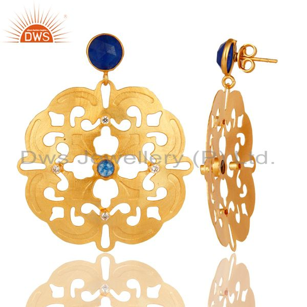 Exporter 14K Yellow Gold Plated Blue Aventurine And White Zircon Designer Earrings