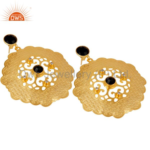 Exporter Handmade 18K Yellow Gold Plated Designer Earrings With Black Onyx And CZ