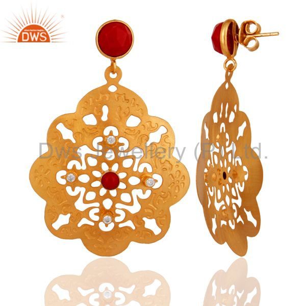 Exporter Indian Handcrafted 18K Yellow Gold Plated Coral Gemstone Filigree Design Earring