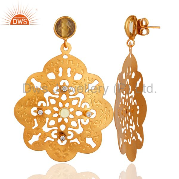 Exporter 18K Yellow Gold Plated Natural Lemon Topaz Gemstone Filigree Earrings