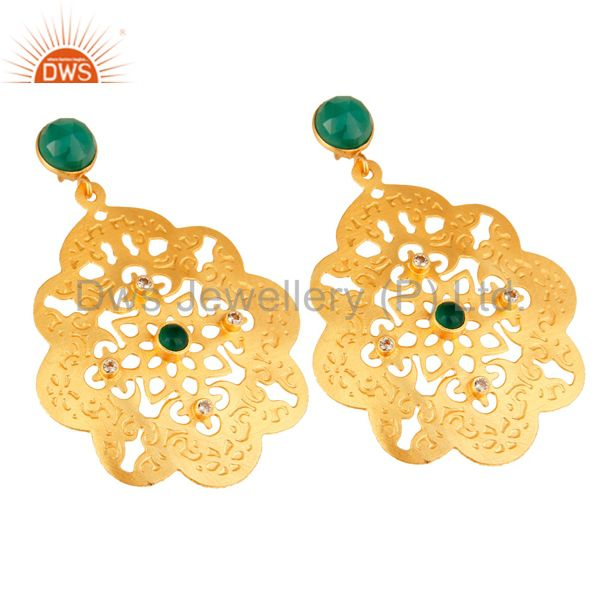 Exporter 24K Yellow Gold Plated Green Onyx Gemstone Filigree Disc Dangle Earrings