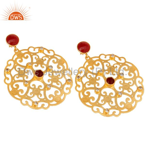 Exporter 24K Yellow Gold Plated Red Coral Filigree Disc Designer Earrings With CZ
