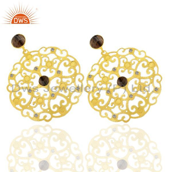 Exporter 24K Gold Plated Brass Smoky Quartz And CZ Filigree Design Disc Dangle Earrings