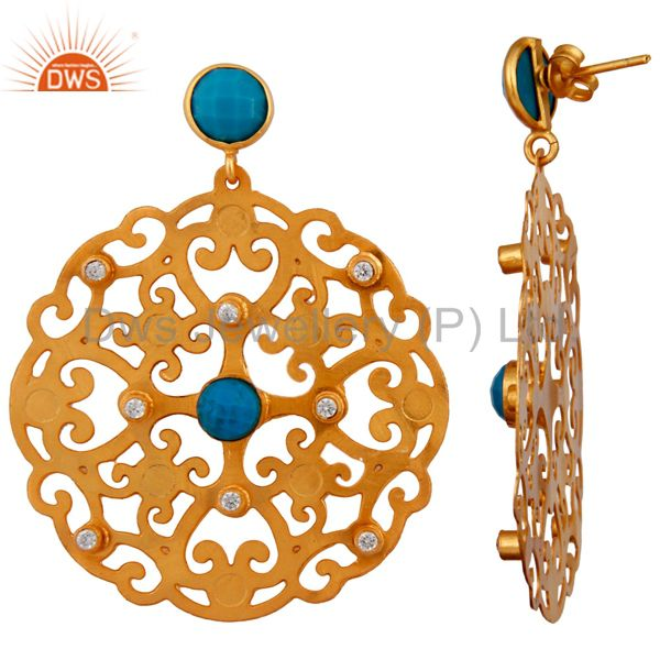 Exporter 24K Yellow Gold Plated Brass Turquoise And CZ Filigree Disc Design Drop Earrings