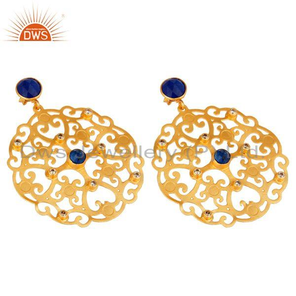 Exporter 24K Yellow Gold Plated Blue Aventurine Filigree Disc Designer Earrings With CZ