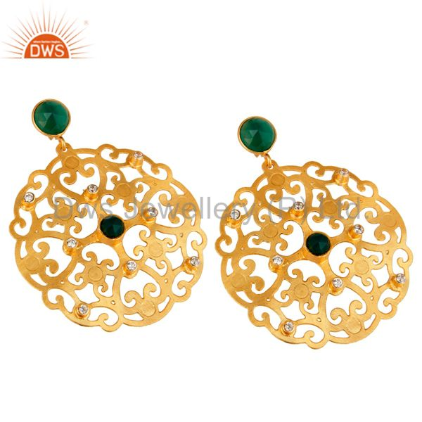 Exporter 24K Yellow Gold Plated Green Onyx Filigree Disc Designer Earrings With CZ