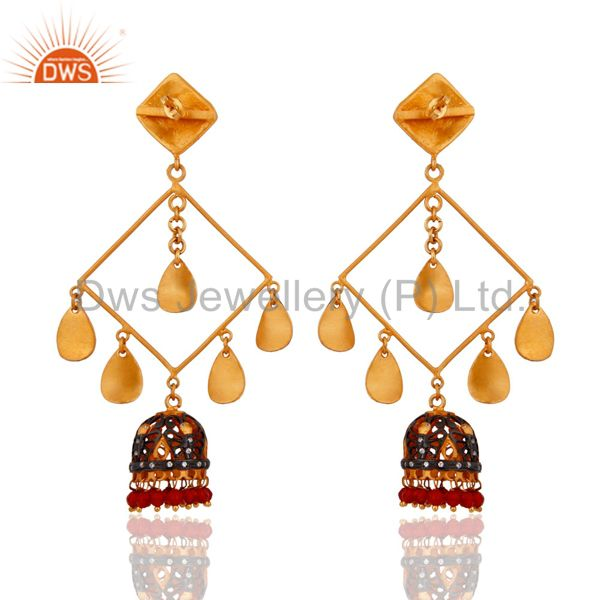 Exporter Quality Red Onyx Gemstone 18-karat Yellow Gold Plated Ladies Dangle Earrings