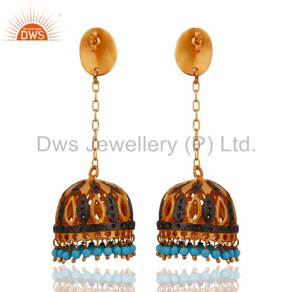 Exporter Natural Turquoise Gemstone Bead 24k Yellow Gold Plated Jhumka Style Post Earring