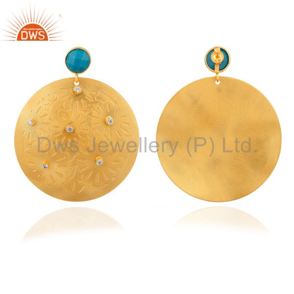 Exporter Handmade Turquoise And CZ 22K Yellow Gold Plated Brass Disc Dangle Earrings