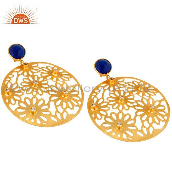 Exporter Aventurine & Cubic Zirconia 18k Yellow Gold Plated Filigree Disc Dangle Earring