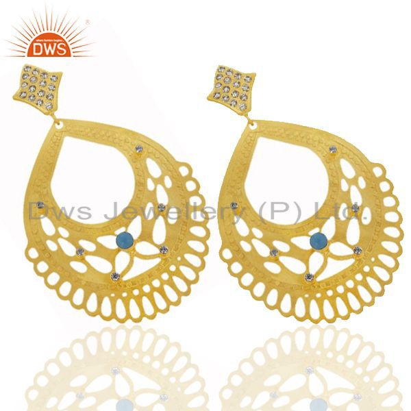 Exporter 24K Yellow Gold Plated Brass Turquoise And CZ Filigree Design Drop Earrings