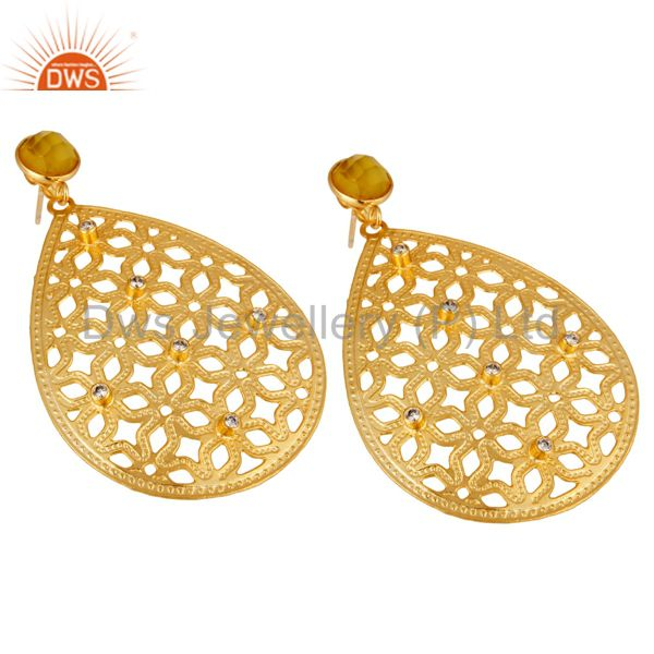 Exporter Handmade Filigree 24K Gold Plated Chalcedony Gemstone & CZ Drop Brass Earring