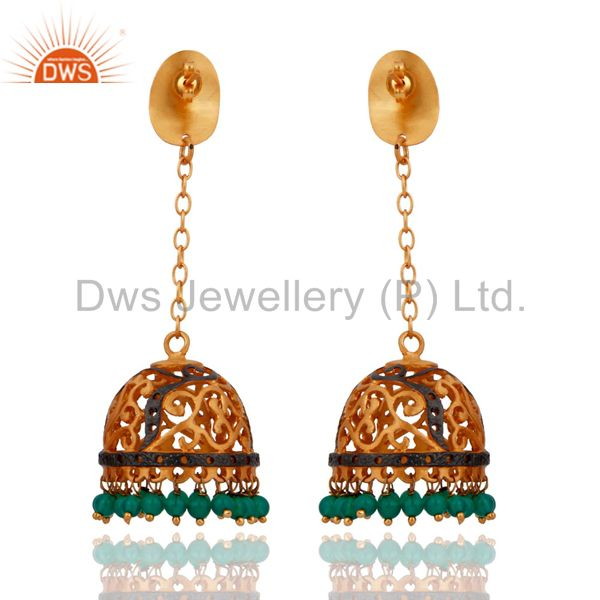 Exporter 18K Yellow Gold Plated Brass Green Onyx And Cubic Zirconia Dangle Earrings