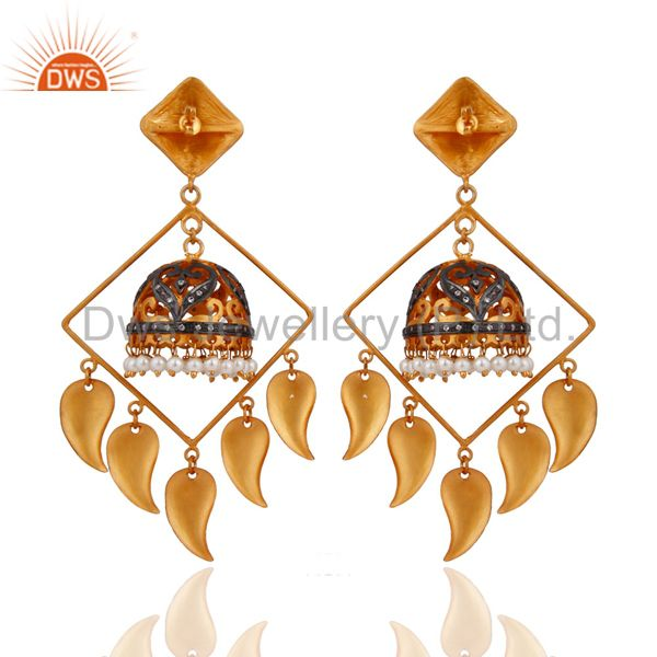 Exporter 18Karat Yellow Gold Plated Chandelier Dangle Earrings With Natural Pearl Jewelry