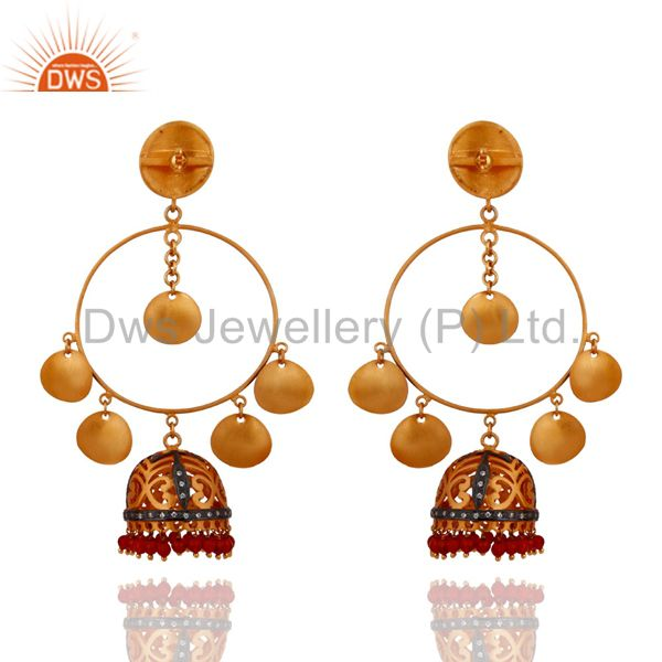 Exporter New 18k Yellow Gold Plated Natural Gemstone Red Onyx Dangle Chanaelier Earrings